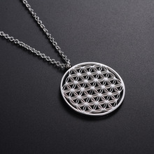Stainless Steel Round Flower of Life Necklaces Pendants Mandala Accessories Handmade Jewelry for Women Birthday Gifts