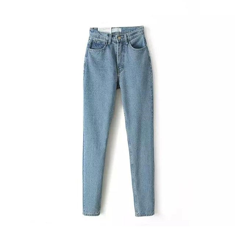 2017 Fashion Lady Slim Pencil Pants Retro High Waist Denim Jeans Harem Pants  full length pants loose cowboy Harem PantsОдежда и ак�е��уары<br><br><br>Aliexpress