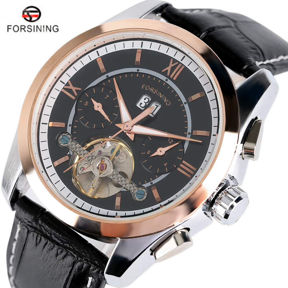 FORSINING Luxury Brand Skeleton Self-Wind Mechanical Men Watches Fashion Tourbillon Classic Business Hour Relogio Masculino<br>