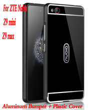 For ZTE Nubia Z9 Mini Case Plating Mirror Aluminum Metal Bumper Acrylic PC Back Cover Case for ZTE Nubia Z9 max PLUS Phone Cases