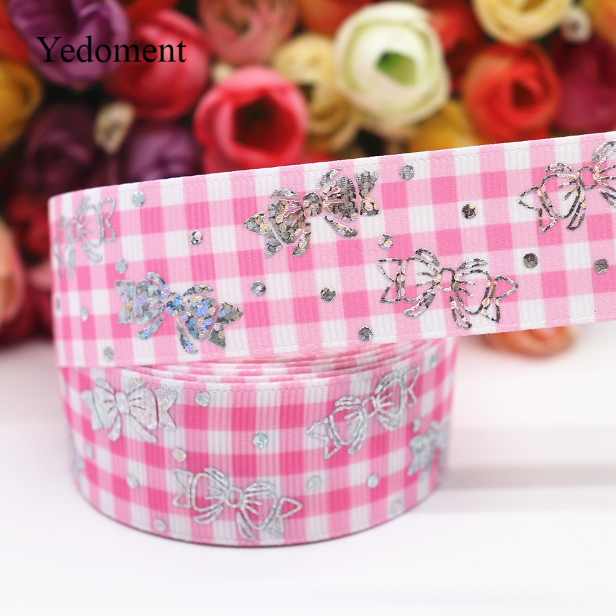 "1/"" INCH 25mm PINK LOVE BLACK GROSGRAIN RIBBON 5 YDS DIY HAIR BOWS"