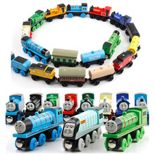 20pcs/lot Wooden Thomas And Friends Train Toys Magnetic Thomas Wooden Model Train Kids Toy Gift Send Random
