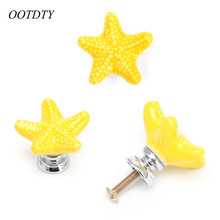 OOTDTY Furniture Handles Starfish Cabinet Knobs and Handles Ceramic Door Knob Cupboard Drawer Kitchen Pull Handle Home+Screw