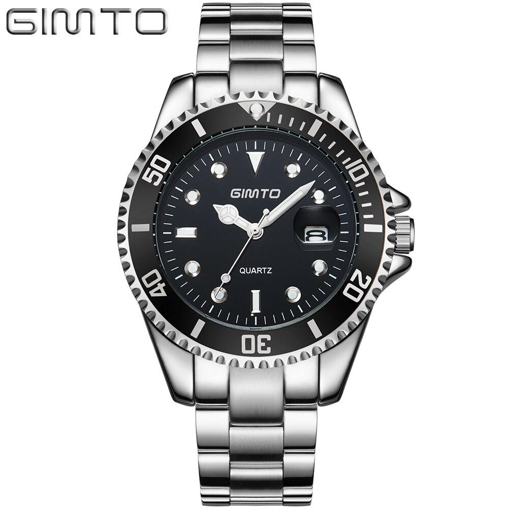 GIMTO Sports Men Watches 2017 Luxury Brand Quartz Wristwatch Mens Gold Watches Stainless Steel Watch Band Male Clock Waterproof<br>