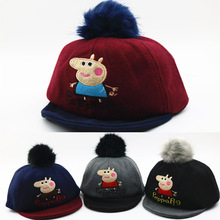 Baby autumn and winter hat new cartoon dog,Paige pig ful ball flanging baseball cap infant children hair hat for baby0-3years(China)