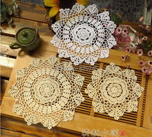 2PCS /LOT New Cotton Crochet doily flowers Woven decorative Pad Doilies Round tablecloth mat Placemats Cover cloth
