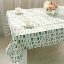 Korean style Linen Printing Lace Tablecloths Rectangular Green Leaf Table Cloth Family Outdoor Picnic TableCloth Nappe Mariage(China)