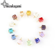 12pcs/lot Colorful Crystal Birthstones Cube Gift Charms Pendant 8MM For Glass Living Memory Locket DIY Accessories