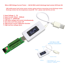 Micro LCD  USB Charger Battery Capacity Voltage Current Tester Meter Detector+USB Mini Discharge Load Resistor 2A/1A With Switch
