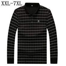 2017 New Autumn Polo Shirt Men Long Sleeve England Style Boss Polos Brand Plaid Design Polo Homme Plus Size 4XL 5XL 6XL 7XL(China)