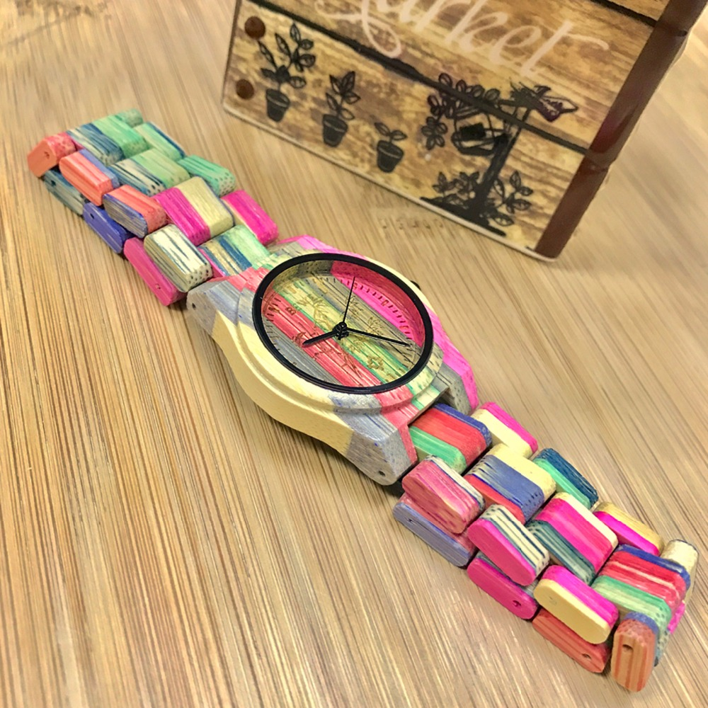 BEWELL  New Colorful Rainbow Bamboo Wood Watch Women Fashion Quartz Wrist Watches Lovers watches with Gift Box 105DL<br>