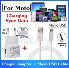 Good Quality 2A Wall Charger Adapter + Micro USB Cable For Moto G M G2 G3 G4  X Style X Play E4 X Pro Charging & Sync Data Cable