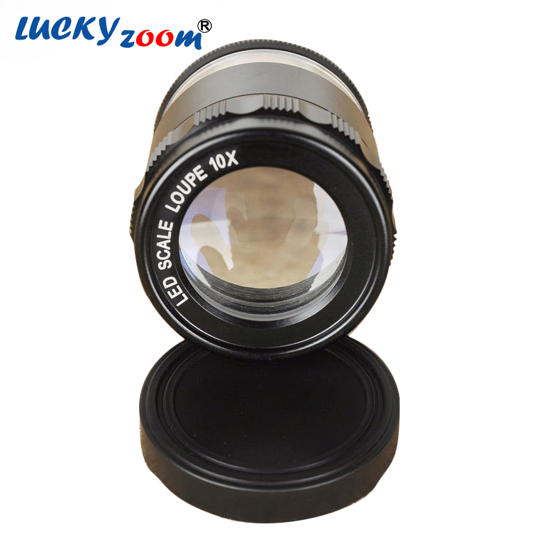 New 8 LED Illuminated Optical Magnifying Lens ABS Glass 10X Zoom Loupe Riticle Scale Cylindrical Magnifier Lupe Free Shipping<br>