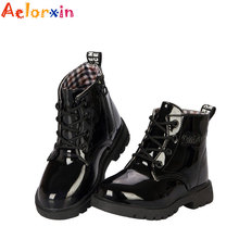 2016 New Fashion Chaussure Enfant Children Martin Boots Girls Boys Winter Shoes Kids Rain Boots PU Leather Kids Sneakers