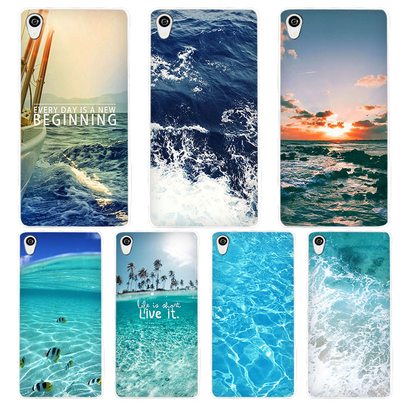 sea ocean White Phone Case Cover for Sony Xperia Z1 Z2 Z3 Z4 Z5 M4 Aqua C4 XA XZ E4 E5 L36H(China (Mainland))