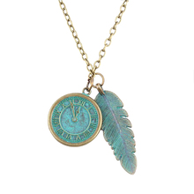 Valentine's Day gift new hot bronze round watch leaf green pendant concise cute max necklace colar