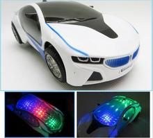 New 3D Flashing Electric Car toy with Lights, and Sound ,goes around and changes directions on contact,fun Diecast kids toys