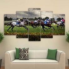 Modern Canvas Wall Art Poster Frame Sports Room Home Decor HD Printed 5 Piece Modular Pictures Fast Horse Racing Painting PENGDA