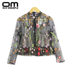 OMCHION 2017 Fashion Summer Embroidery Shirt Women Colorful Floral Blouse Elegant Sexy Perspective mesh Tops Black WCS05