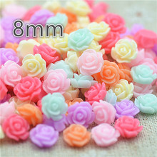 resin flower 8mm 100pcs/lot mix color flat back cabochon holiday decoration free shipping(China)