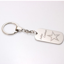 6Pcs/lot Stainless Steel  Dallas Cowboys Dog Tag Pendant Charm Key Ring American Football Team Logo Keychain For Women Men