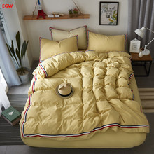 Home textile Nordic solid bedding set light camel duvet cover full queen beige bed sheet coffee green adult bedding bed linen(China)