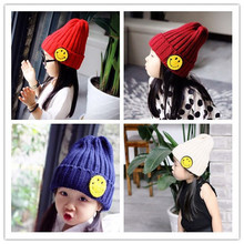 Children In Autumn And Winter Hats Exported To Korea Embroidery Embroidered Smile Rabbit Hair Ball Baby Warm Cap(China)