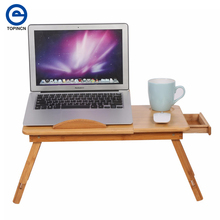 Portable Learning Laptop Desk Natural Bamboo Laptop Table Desk Adjustable Height Folding Table Computer Desk Stand(China)