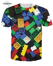 Lego Bricks T-Shirt Super Popular children's Toy 3d Print T Shirt Unisex Camisetas 2016 Summer Style Brand Mes Tops Tees