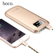Original HOCO 10000mAh Dual USB Outputs Frosted Aluminum External Battery Pack Power Bank For iPhone Xiaomi mobile phone charger