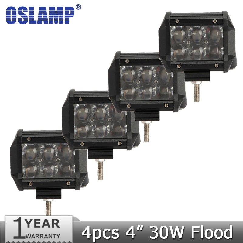 Oslamp 30W 4 CREE Chips Spot Flood Beam Offroad LED Work Light Bar 12V 24V Truck SUV ATV 4WD 4X4 Driving Headlight Work Lamp<br><br>Aliexpress