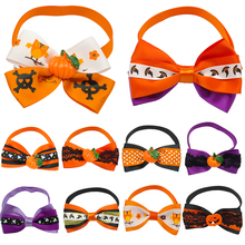 10 pcs Halloween Festival Pet Dog Cat Bow Tie Puppy Kitten Necktie Adjustable Collar With Pumpkin Ghost Grooming Accessories