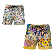 ALL Pokemon Print Men Beach Shorts Mesh Trunks Harajuku Cartoon Pokemon Go Pikachu Surf Board Short Pants Pocket Mens Swimwears