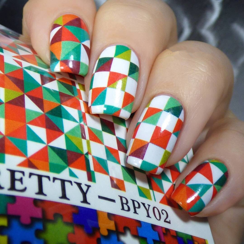 1 Sheet BORN PRETTY Water Decals Color Checked Puzzle Nail Transfer Sticker BP Water Decals Nail Sticker BPY02<br><br>Aliexpress