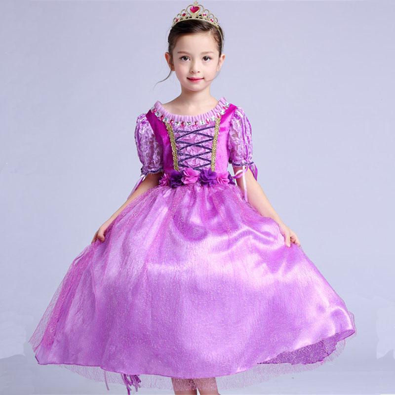 Purple Rapunzel Princess Dress Summer Short Sleeve Girl Cosplay Cartoon Character Childrens Casual Dresses Clothes For 4-10Y<br>