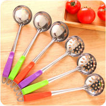 2pcs/lot Stainless Steel Colorful Handle Spoon Skimmer Strainer Kitchen Cooking Hot Pot Soup Wall Hanging Long Handle Soup Ladle