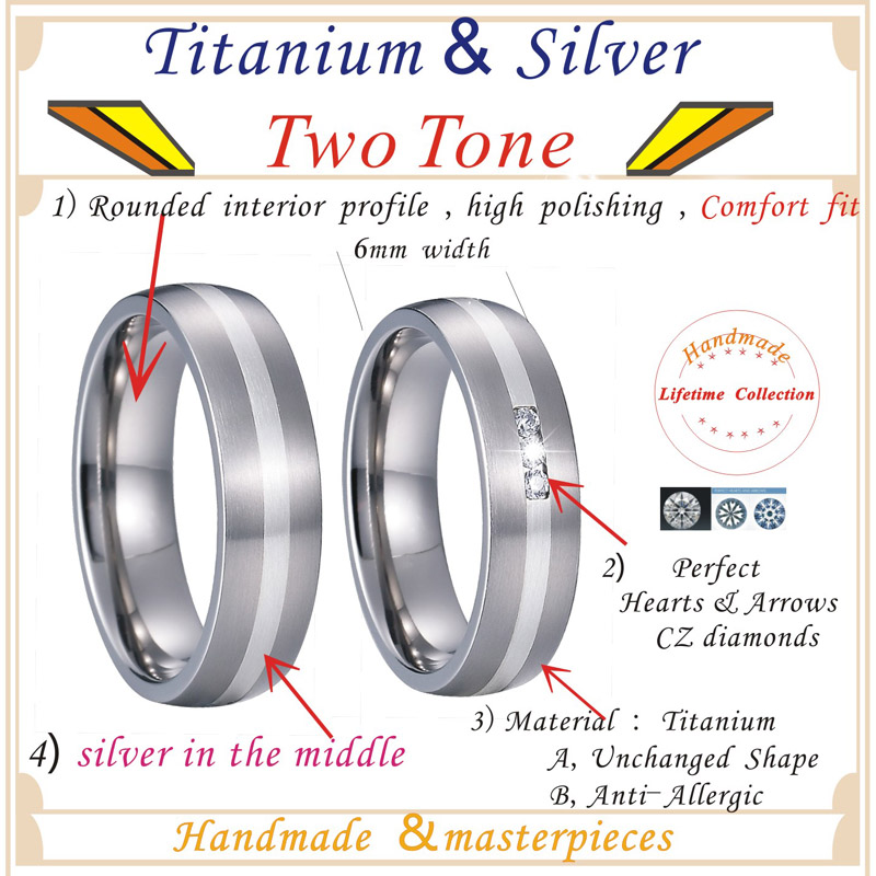 Unique Alliance Silver Inlay Titanium Rings for men and women Wedding Band Matching Couple Rings Bague anillos de plata anel PV1701 (5)