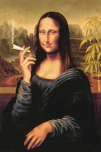 Novelty Print Your Own Picture On Room Wall Mona Lisa Smoking Joint Poster Wall Poster By 27x40cm(China)