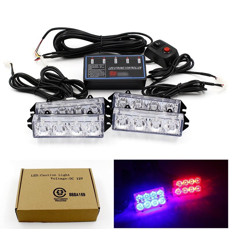 Multiple Modes 16 LED Strobe Flash Warning Car Lights Styling Red Blue Fireman Police Emergency Lamp For Front Grille Deck Rear<br><br>Aliexpress