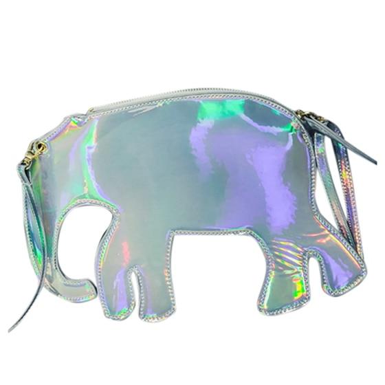 5) New womens Fashion Bag Personalized Funny Animal Fashion Diagonal Package(Silver Elephant)<br>