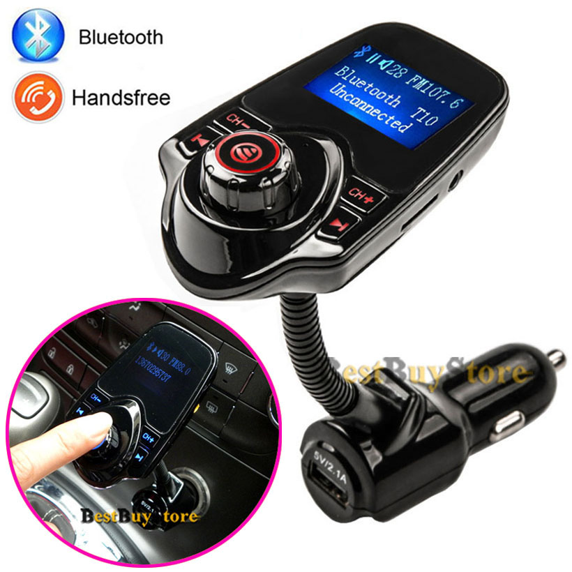 2017 New Bluetooth Car Kit handsfree Set FM Transmitter MP3 music Player 5V 2.1A USB Car charger, Support Micro SD Card 1G-32G<br><br>Aliexpress