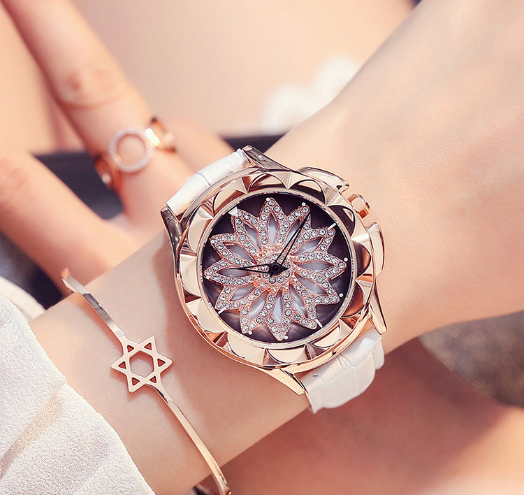 New Fashion Lady Rhinestone Watches Wome Rotation Dress Watch brand Real Leather Band Big Dial Bracelet Wristwatch Crystal Watch<br>