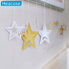 7 pcs/lot Hollow christmas star Ornament Party Home Decoration for market bars Xmas Supplies New Year