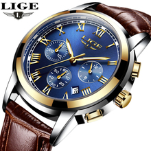 LIGE Mens Watches Top Brand Luxury Leather Casual Quartz Watch Men Military Sport Waterproof Clock Gold Watch Relogio Masculino