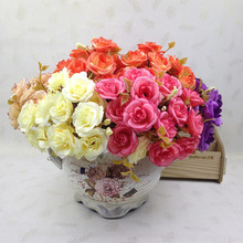 14 Heads Silk Rose Bouquet Engagement Accent Piece Wedding Home Decor Delicate Celebration Swags Artificial Flower