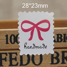 500pc stample bowknot print handmade sticker labels DIY thank you jewelry/candy favors package tag labels custom cost extra(China)