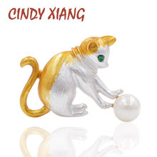 CINDY XIANG Play Ball Cat Brooch Enamel Animal Kitty Brooches for Women Kids Jewelry Green Eye Small Pins Fashion New 2018 Style(China)