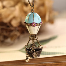 8SEASONS Fashion Jewelry Metal Hot Air Balloon Dog Pendant Sweater Chain Vintage Necklace, 1 Piece