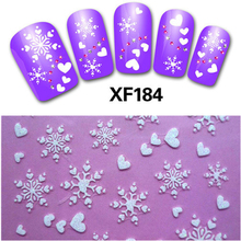 1sheet New Fashion Christmas Snowflake Nail Stickers Water Transfer Decals Manicure Watermark Stickers DIY for Nail Art BEXF184