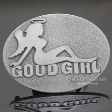 Western Unisex Silver Good Girl Wing Angel Mud Flap Naked Lady Tattoo Belt Buckle Clothes 2017 New(China)
